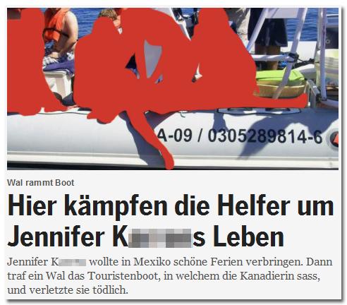 Hier kämpfen die Helfer um Jennifer K[...]s Leben - Jennifer K[...] wollte in Mexiko schöne Ferien verbringen. Dann traf ein Wal das Touristenboot, in welchem die Kanadierin sass, und verletzte sie tödlich. [Dazu das gleiche Foto, noch näher rangezoomt]
