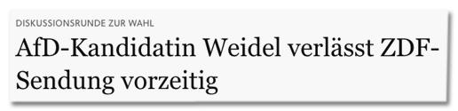 Screenshot FAZ.net - Diskussionsrunde zur Wahl - AfD-Kandidatin Weidel verlässt ZDF-Sendung vorzeitig