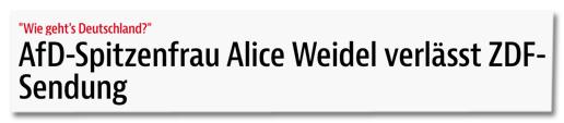 Screenshot BZ - Wie geht's Deutschland? AfD-Spitzenfrau Alice Weidel verlässt ZDF-Sendung