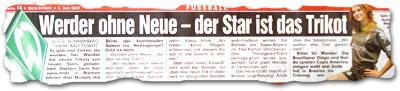 """""""Werder ohne Neue -- Der Star ist das Trikot"""""""