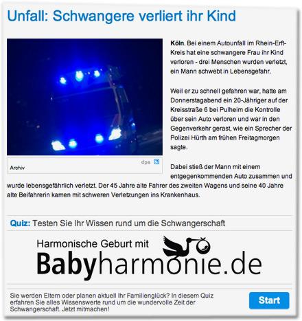 Unfall: Schwangere verliert ihr Kind. Quiz: Testen Sie Ihr Wissen rund um die Schwangerschaft, harmonische Geburt mit babyharmonie.de