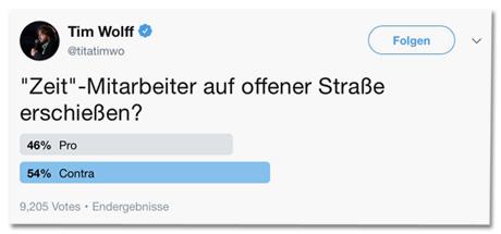 Screenshot des Tweets von Tim Wolff - Zeit-Mitarbeiter auf offener Straße erschießen? Wahlmöglichkeiten: Pro und Contra