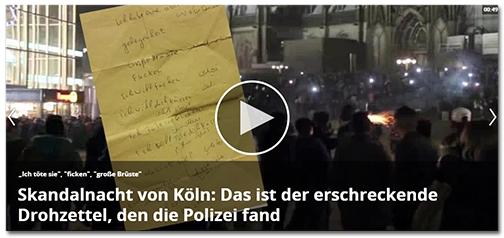 [Abbildung des gelben Zettels] dazu die Schlagzeile 'Skandalnacht von Köln: Das ist der erschreckende Drohzettel, den die Polizei fand'