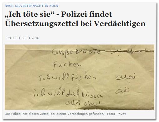 [Abbildung des gelben Zettels] dazu die Schlagzeile ''Ich töte sie' - Polizei findet Übersetzungszettel bei Verdächtigen'