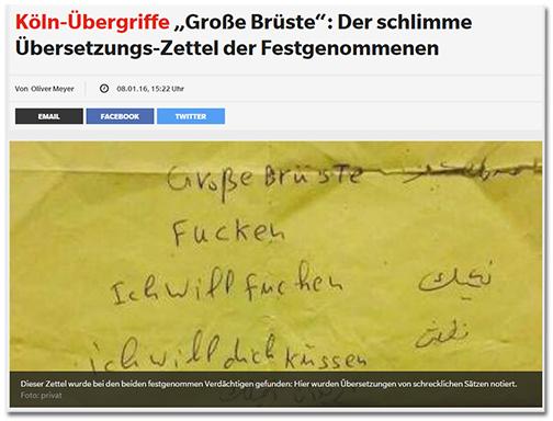 [Abbildung des gelben Zettels] dazu die Schlagzeile 'Köln-Übergriffe - 'Große Brüste': Der schlimme Übersetzungs-Zettel der Festgenommenen'