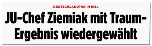 Screenshot Bild.de - Deutschlandtag in Kiel - JU-Chef Ziemiak mit Traum-Ergebnis wiedergewählt