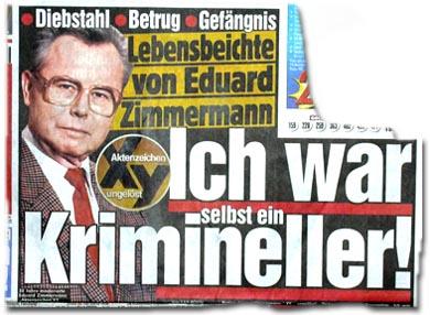 Lebensbeichte von Eduard Zimmermann: Ich war selbst ein Krimineller