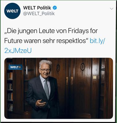 Screenshot eines Tweets der Welt-Redaktion - Die jungen Leute von Fridays for Future waren sehr respektlos