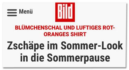 Ausriss Bild.de - Blümchenschal und luftiges rot-orangenes Shirt - Zschäpe im Sommer-Look in die Sommerpause