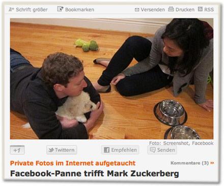 Private Fotos im Internet aufgetaucht: Facebook-Panne trifft Mark Zuckerberg